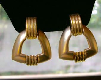 Vintage Gold Tone Geometric Door Knocker Clip On Earrings, 1980's Chunky Earrings