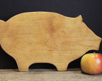 Vintage Pig Shaped Chopping Block // Cutting Board // Bread Board