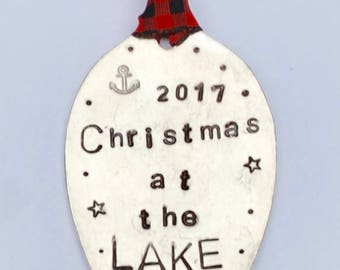Christmas At The LAKE // Christmas Ornament // Red and Black Ribbon hand stamped Vintage Spoon