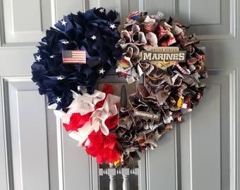 Marine Wife, Marine Mom, Marine Girlfriend, Military Wife, USMC Wife, Marine Corps Gift,  Military Gift, Military Wreath, Military Decor