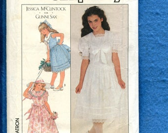 Vintage 1980's Simplicity 8703 Gunne Sax Country Chic Dress Pattern Size 12 Girls