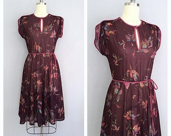 Fall for you dress | vintage 1970s dress | 70s floral day dress | s