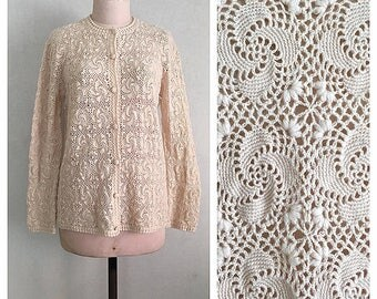 Snow flakes cardigan | 1960s hand knitted sweater | 60s pure wool cardigan | s - m