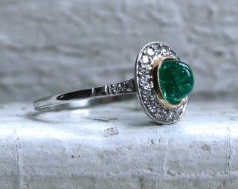 Stunning Vintage Platinum Sugarloaf Natural Emerald and Diamond Halo Ring - 1.44ct.