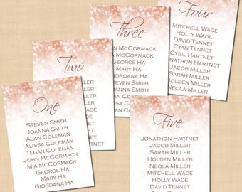 Rose Gold Sparkles Table Seating Charts, Wedding Reception (5x7, Portrait): Text-Editable in Microsoft® Word, Printable Instant Download