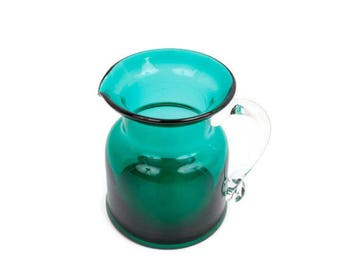 Vintage Teal Green Glass Pitcher Applied Glass Handle GORGEOUS DESIGNS CO Green Glass Creamer Made in China Blown Glass Art Glass