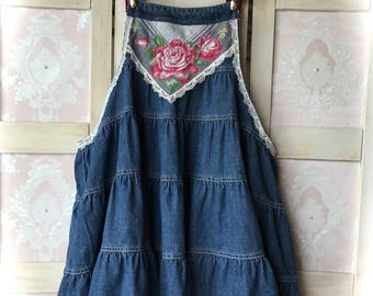 Indigo Rodeo Sweetheart Tiered Jumper/Top Blooming Roses