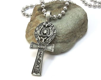 Men's Ankh Necklace, Large Stainless Steel Ball Chain - Egyptian Jewelry, Silver Ankh Pendant