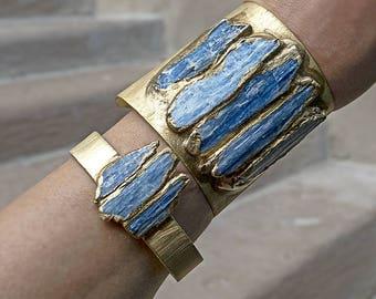 RAW KYANITE STATEMENT Cuff - Brass Bracelet