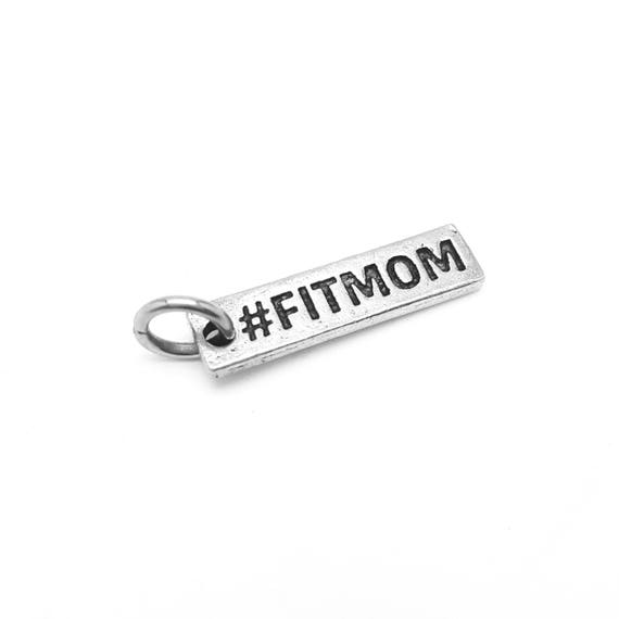 Fit Mom Charm - Fitness Jewelry and Accessories - Hypoallergenic Pewter USA Made - Wifey n training - Motivational Jewelry