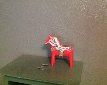 Vintage Dala horse hand painted wood G A Olsson Sweden
