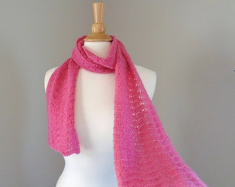 Bright Pink Cashmere Scarf, Hand Knit, Luxury Lace Scarf, Women & Teen Girls, Long Wrap Scarf, Girlpower Knits