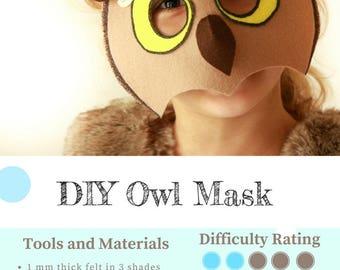 Owl Mask PATTERN // DIY Halloween Mask // Kids Felt Mask Sewing Pattern