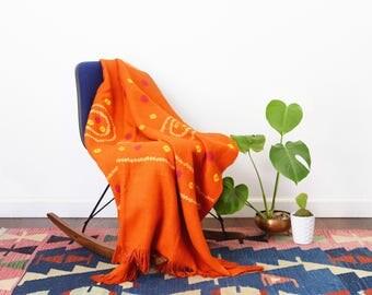 Orange Handwoven Wool Blanket - Shibori Dyed Throw Blanket Shawl