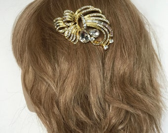 Bridal Hair Comb,  golden organic clear rhinestones, wedding hair, bridal comb, wedding hair accessory, vintage rhinestone comb