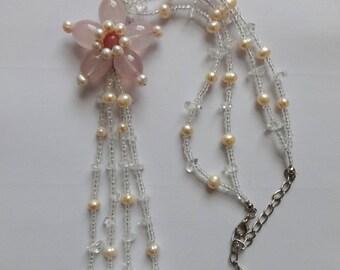 Vintage Butler & Wilson Rose Quartz and Pearl Necklace