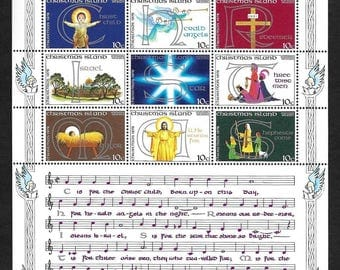 Christmas Vintage Postage Stamps 1978 - Souvenir Sheet - The Song of Christmas - Christmas Island - Collectible, Ideal for Framing - MNH