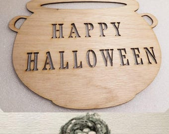 Happy Halloween / Cauldron/ Customized With Your Message - Laser Cut Wood