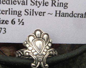Medieval Ring Design Sterling Silver Size 6