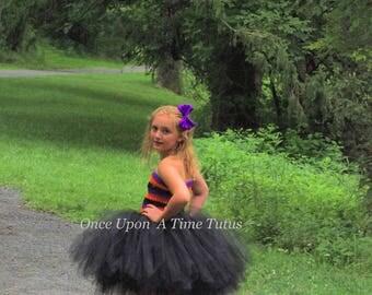 Orange Purple Black Striped Tutu Dress Knee Length Girls Size 6 12 Months 2T 3T 4T 5T 6 7 8 10 Halloween Costume Kids Birthday Party Tutu