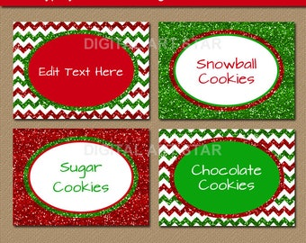 Christmas Labels Printable Candy Buffet Labels, Place Cards Holiday Food Labels, Buffet Cards, Tent Cards, Food Tents Editable Labels B8