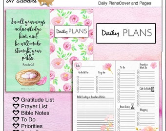 Travelers Notebook Daily Plans Cover & Pages with Lists: Prayer, Gratitude, Bible Notes, To Do, Priorities, Brain Dump 8.25x4.33 inches