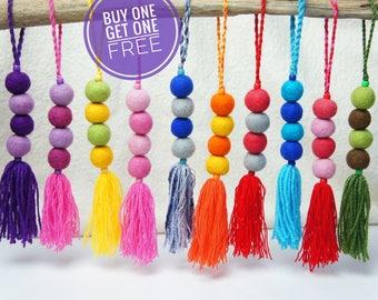 SALE, Bag Charm, Tassel Bag Charm, Pom Pom Bag Charm, Pom Pom Tassel Bag Charm, Felt Ball Charm, Pom Pom Keychain, Tassel Keychain, Keyring