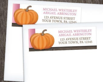 Pumpkin Address Labels Autumn - Rustic Wood Orange Pink and Brown for Fall - Printed Address Labels