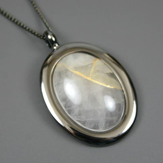 Kintsugi (kintsukuroi) rose quartz oval stone cabochon pendant with gold repair in gunmetal setting on curb chain - OOAK