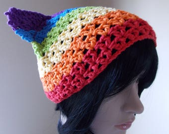 Rainbow Cat Hat, pride march pussyhat made from cotton, summer cat hat for June pride month marches and presidential protests
