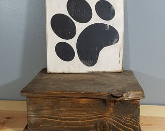 CAT  SIGN -Cat Paw Only-  rustic wooden hand painted sign.