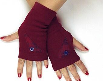 Maroon Wool Fingerless Gloves - Embellished Wool Gloves - Burgundy Wool Fingerless Gloves - Maroon Wool Winter Gloves