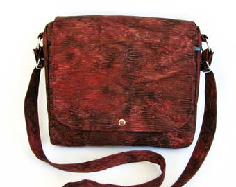 Large messenger bag- Burgundy brown wood grain batik cotton