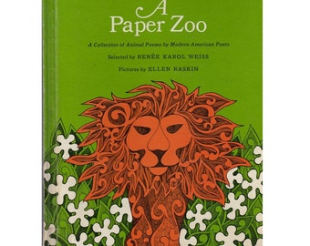 groovy mod 1960s children's poetry book A Paper Zoo, Ellen Raskin illustrations, children's poems, animal poems by modern American poets