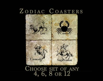 Custom set - Zodiac coasters- you choose which signs and how many! Travertine with a layer of real leaves.