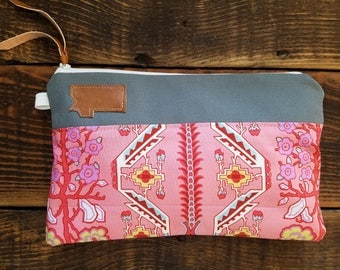 Canvas clutch/Pink native print/Gray canvas/Caramel vegan leather details