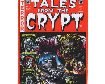 Tales From The Crypt Red Comic Patch Scary Story Embroidered Iron On Applique