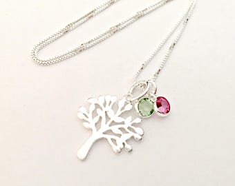 Sterling Silver Tree Pendant with Swarovski Birthstone Crystals - Family Tree Necklace - Personalized, Custom Jewelry - Gift for Mom, Nana