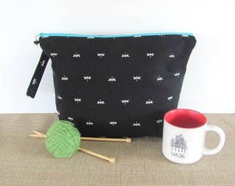Zipper Knitting Bag, Knitting Project bag, Cross Stitch Storage bag, Gift for Mom Dragonfly Crochet Project bag