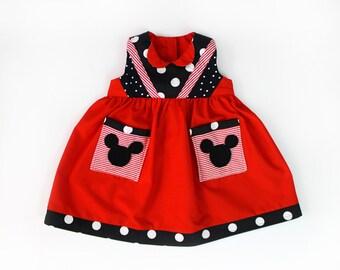 Baby Girl Polka Dot Mickey Dress Handmade Unique Sz 1 - Ready to Ship