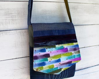 Painted Upcycled Denim Purse Crossbody Messenger Bag Handmade Unique