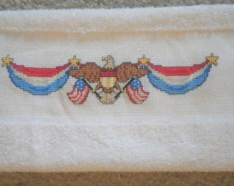 """Proud American Eagle with Flags and Bunting Hand Towel 16x24"""" 4th of July Red White Blue Kitchen Guest Bath Completed Cross Stitch Bathroom"""