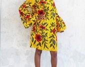 THE JACKIE Dress in Golden Hibiscus
