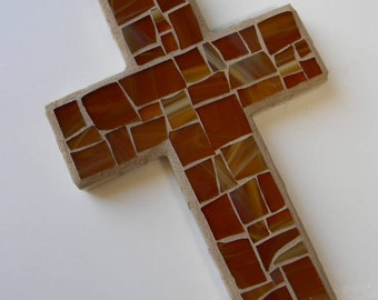 Easter cross etsy honey brown mosaic cross stained glass cross housewarming gift rustic cabin decor negle Choice Image