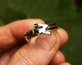 Hare ring, hare spinner ring, bunny silver ring, silver spinner ring, fidget ring, rabbit ring, woodland, size R 1/2, size 9, ready to ship