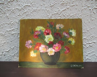 Vintage Floral Bouquet Oil Painting, Original Flower Painting, Floral Art, Oil on Canvas Board