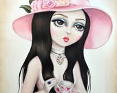 The Love Witch - LIMITED EDITION signed numbered Big Eyed Cult 70s Horror Movie Pink Hat Pop Surrealism Lowbrow Art Print By Autumn
