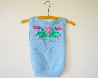 Vintage Children Hand Knit Vest Size 6, Vintage Sweater Vest, Knitted Sweater, Retro Clothing, Cardigan, Kid's Vest, Hand Knitted Vest