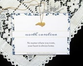 NORTH CAROLINA State Necklace - Home State Love Heart Necklace - Gold or Silver Dainty Minimalist with Print - Katya Valera