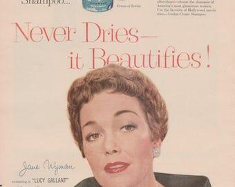 Jane Wyman 1950s Vintage Haircare Ad Shampoo